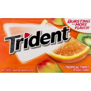Chicles sin azúcar sabor Tropical twist Trident