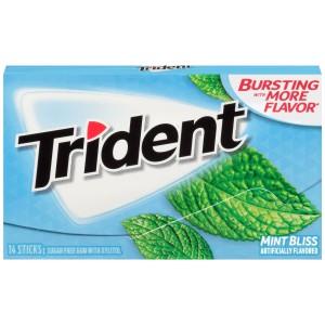 Trident Sugar Free Gum, Mint Bliss, 14 Pieces*15