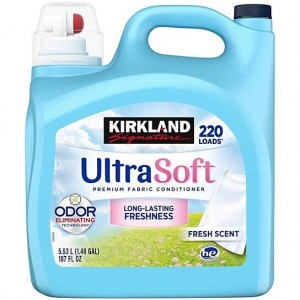 Kirkland Signature Ultra HE Liquid Fabric Softener, 220 loads, 187 fl oz