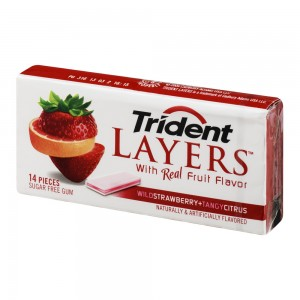 Trident Layers Sugar Free Gum, Strawberry and Citrus, 14 Pieces