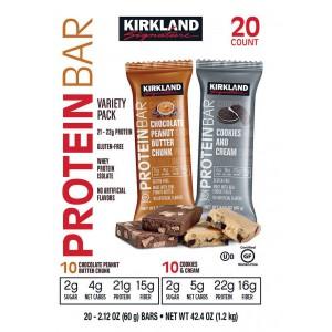 Barras de Proteína KS, sabores Cookies & Cream y Mantequilla de maní