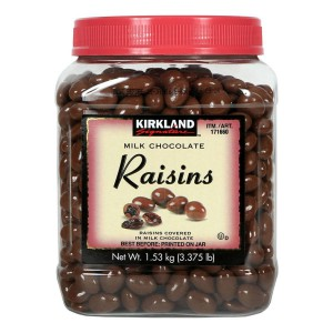 Pasas cubiertas con chocolate de leche Kirkland Signature