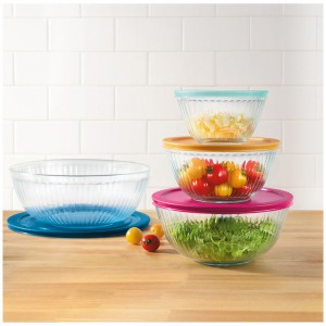 Set de bowls de Pyrex de vidrio esculpido