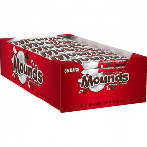 Caja de barras de coco con chocolate oscuro Mounds